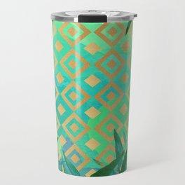 Pattern geometric gold and leaf Travel Mug