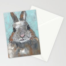 Fat Cat Bunny painting Stationery Cards