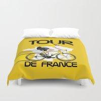 tour de france Duvet Covers featuring Tour De France by Wyatt Design