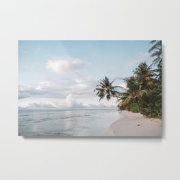 Maldives Beach with Palm Trees during Sunrise | Travel Photography | Metal Print