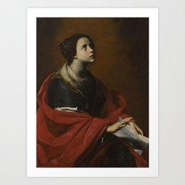 Massimo Stanzione ORTA DI ATELLA 1585 - 1656  SAINT CECILIA Art Print