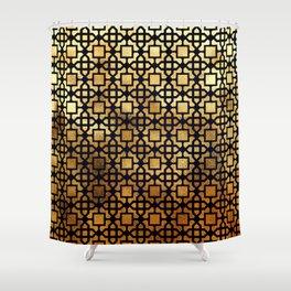 Luxurious Gold-Bronze Islamic Geometric Pattern Shower Curtain