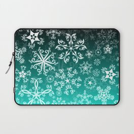 Symbols in Snowflakes on Winter Green Laptop Sleeve