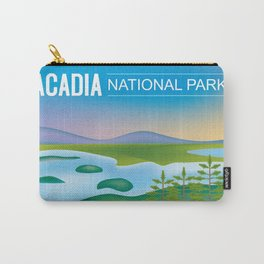 Acadia National Park, Maine - Skyline Illustration by Loose Petals Carry-All Pouch
