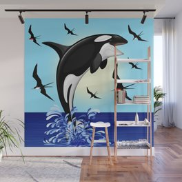 Orca Killer Whale jumping out of Ocean Wall Mural