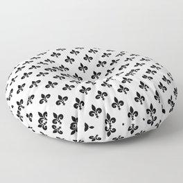 Black French Fleur de Lis on White Floor Pillow