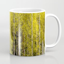 Lovely spring atmosphere - vibrant green leaves on the trees - beautiful birch grove Coffee Mug