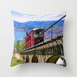 Lugano, Switzerland Funicular - Cable Car Lakeside photograph Throw Pillow