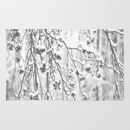 Cloudy Day In The Forest B&W Snowy Rowan Branches With Berries #decor #society6 #homedecor Rug