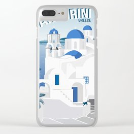 Vintage Santorini poster Clear iPhone Case