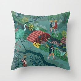 Ukiyo-e tale: The beginning of the trip Throw Pillow