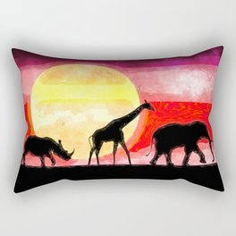 Elephant Giraffe Rhinoceros Rectangular Pillow