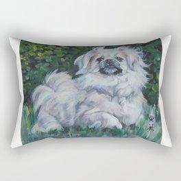 Tibetan Spaniel dog art from an original painting by L.A.Shepard Rectangular Pillow