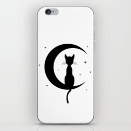 Cat on a Moon Silhouette (Lights) iPhone Skin