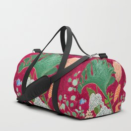 Fuchsia Pink Floral Jungle Painting Duffle Bag