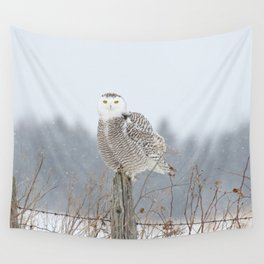 Snow falling on Miss Snowy Wall Tapestry