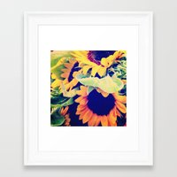 always sunny Framed Art Prints featuring Always Sunny Sunflowers by LeeAnnPoling