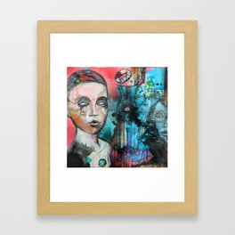 watercolor and acrylic illustrated mannequin background | hand drawn illustration  Framed Art Print