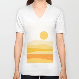 Abstract Landscape 09 Yellow Unisex V-Neck