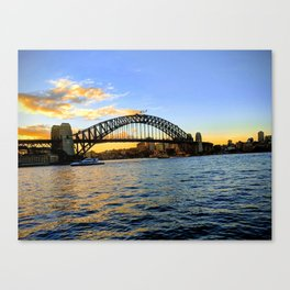 A Sunset Over The Harbour Bridge Canvas Print