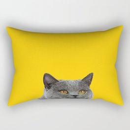 British Short-haired Cat Saffron Yellow Home Decor Pet Lovers Art Grey British Rectangular Pillow