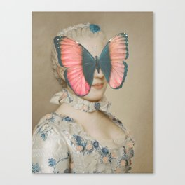 Portrait of a woman with a butterfly Canvas Print