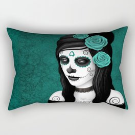 Day of the Dead Sugar Skull Girl with Teal Blue Roses Rectangular Pillow