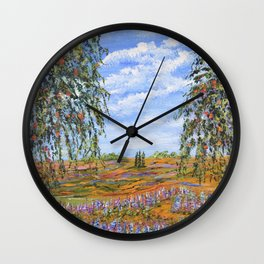 Lupines & Peaches, Modern Impressionism Painting, modern art Wall Clock