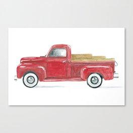 Old Red Vintage Pick-Up Canvas Print