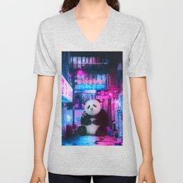 Giant panda in a Chinese street by GEN Z Unisex V-Neck