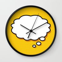 comic book Wall Clocks featuring Comic Book THINK by The Image Zone
