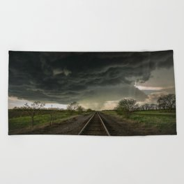 Give Me Shelter - Storm Over Railroad Tracks in Kansas Beach Towel