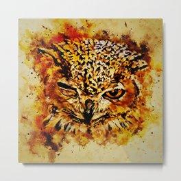 owl winking splatter watercolor Metal Print