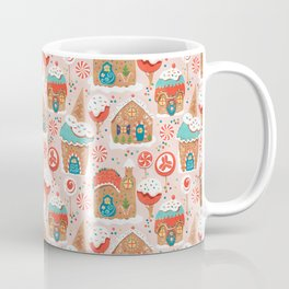 Gingerbread Candy Land on pink Coffee Mug