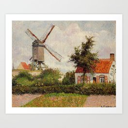 Windmill At Knokke Belgium 1894 By Camille Pissarro | Reproduction | Impressionism Painter Art Print