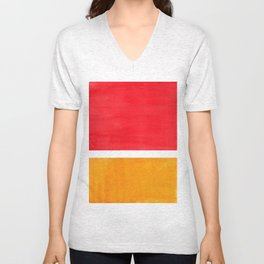 Colorful Bright Minimalist Rothko Color Field Midcentury Bright Red Yellow Squares Vintage Pop Art Unisex V-Neck