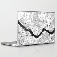 seoul Laptop & iPad Skins featuring Seoul Map Gray by City Art Posters