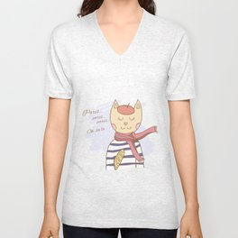 French parisian cat hand drawn illustration Unisex V-Neck