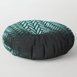 Textured teal and black Herringbone ombre - Japanese pattern Floor Pillow