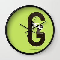 gemma correll Wall Clocks featuring Gemma & Targa by ChicksAndType