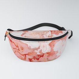 coral pink beige white marbled abstract digital art Fanny Pack