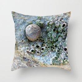 Nacre rock with sea snail Throw Pillow