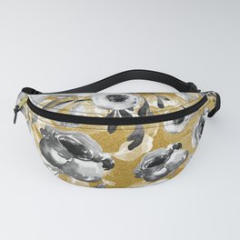 Black and white flowers with gold Fanny Pack