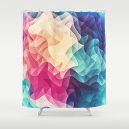 Geometry Triangle Wave Multicolor Mosaic Pattern - (HDR - Low Poly Art) Shower Curtain