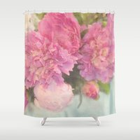 peonies Shower Curtains featuring Peonies by Lisa Argyropoulos