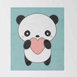 Kawaii Cute Panda Heart Throw Blanket