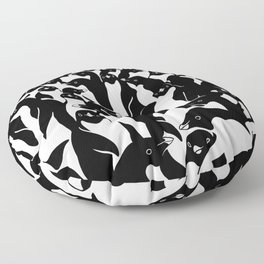 meanwhile penguins Floor Pillow