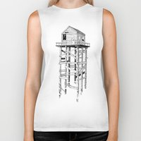 cabin Biker Tanks featuring cabin fever by PAFF