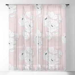 Peonies on pink Sheer Curtain