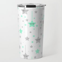 Mint Green Twinkle Little Sleepy Stars Travel Mug